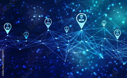 Fotografía  Business Network Concept Background, Social Networks and interaction concept