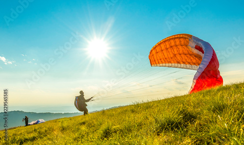 Paraglider on the ground