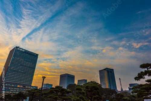 夜明けの高層ビル群 丸ノ内  The sky at daybreak in Marunouchi, Tokyo, Japan Tapéta, Fotótapéta