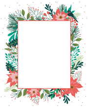 Season Greeting Card. Christmas Greeting Card With Winter Floral. Vector Illustration