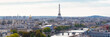 Paris, panorama of the Eiffel tower, with the Seine and bridges, and the most famous monuments