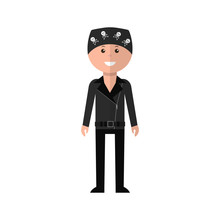Biker Cartoon Character In Flat Style. Biker In A Leather Jacket And Bandana Stands On A White Background. Icon. Vector Illustration.