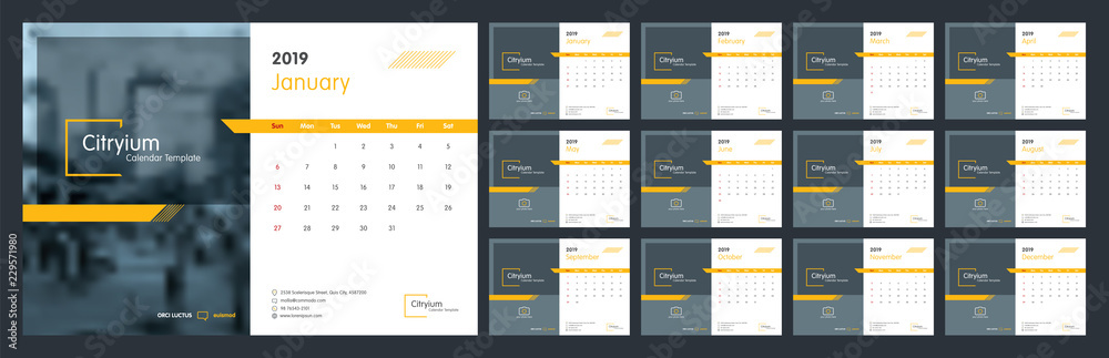 Fototapety, obrazy: Calendar design for 2019. Week starts on Sun. Set of 12 calendar pages vector design print template with place for photo and company logo. Desk calendar template with white background.