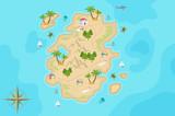 Fototapeta Dinusie - Pirate fantasy cartoon island map. Vector Treasure island.