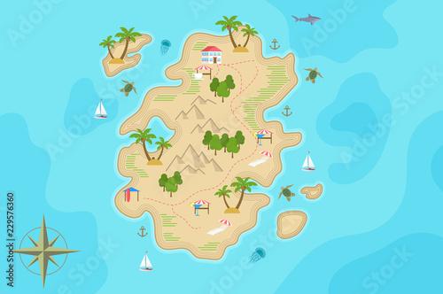 Obraz na plátne Pirate fantasy cartoon island map. Vector Treasure island.