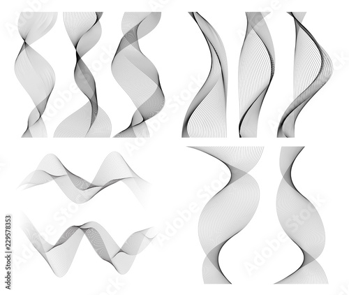 Fotografie, Obraz  wavy lines form spiral ribbon design element effect 3d70