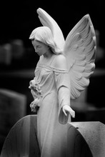 Carved Angel Marble Headstone