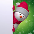 3d snowman looking out the corner, looking at camera, holding Christmas banner, snowfall, green background, blank space for text