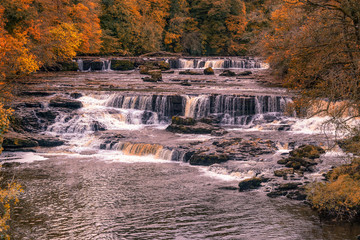 Aysgarth Falls are a triple flight of waterfalls, surrounded by forest carved out by the River Ure over an almost one-mile stretch on its descent Wensleydale in the Yorkshire Dales