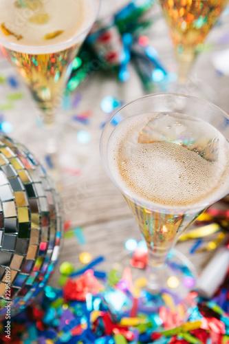 Fotografie, Obraz  NYE2019: New Year's Champagne Confetti Party Background