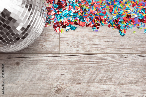 Fotografie, Obraz  NYE2019: Disco Ball Party Background With Space For Text