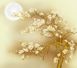 Fototapeta Romantyczny Fabulous golden tree with white flowers, beige background, full moon