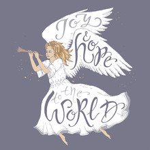 Christmas Brush Lettering Placed In A Color Form Of A Flying Angel And Saying Joy And Hope To The World.