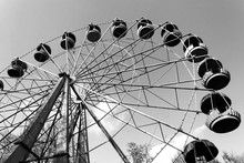 Old Ferris Wheel Black And Whte