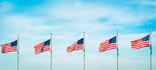 Group Of Five American Flags W...