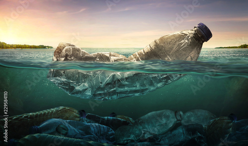 Valokuva  Plastic water bottles pollution in ocean (Environment concept)