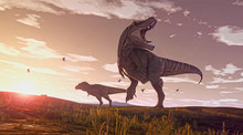 A 3D Rendering Of Two Tyrannosaurus Rex Roaming Some Open Fields At Dusk.