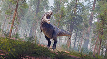 A 3D Rendering Of Tyrannosaurus Rex Roaring In A Prehistoric Forest.