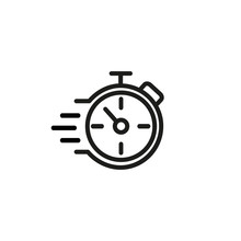 Fast Stopwatch Line Icon. Speed, Urgency, Deadline. Fast Time Concept. Vector Illustration Can Be Used For Topics Like Business, Competition, Time Management