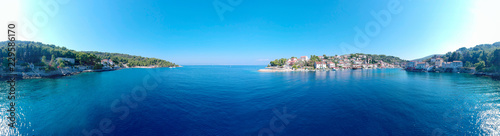 Papel de parede Exciting sunny warm day townscape of fisher man village and island Solta south of Split