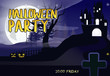 Halloween Party lettering with castle, moon, tree and cross. Invitation or advertising design. Typed text, calligraphy. For leaflets, brochures, invitations, posters or banners.