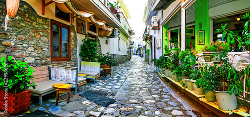 Traditional colorful Greece - charming streets of Skiathos old town