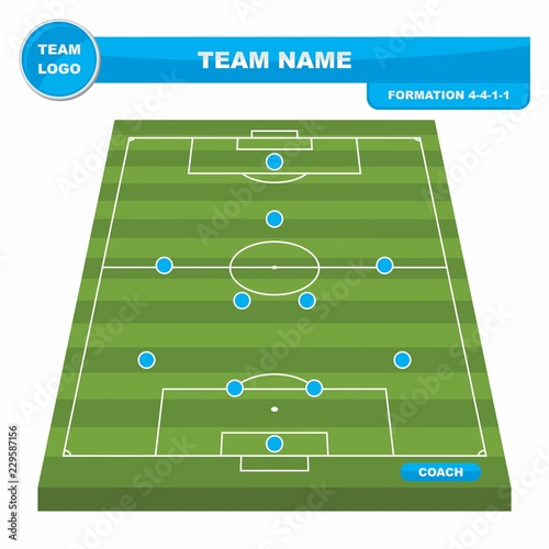 football soccer formation strategy template with perspective field