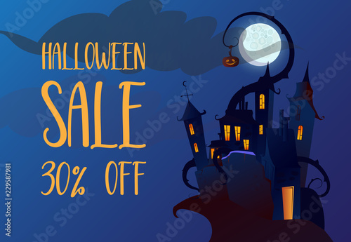 Poster Prune Halloween Sale, thirty percent off flyer design. Gothic castle on cliff, pumpkin hanging on tendril and moon in background. Template can be used for promotion posters, banners, signs