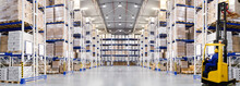 Huge Distribution Warehouse With High Shelves And Forklift