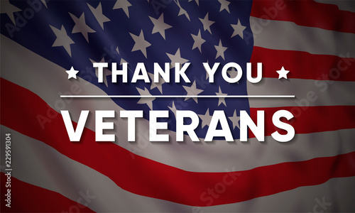 Fototapeta Vector banner design template for Veterans Day with realistic american flag and text: Thank you Veterans. obraz