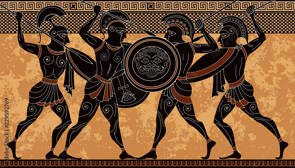 Fototapeta Ancient greek scene banner.Hero,spartan,myth.Ancient civilization culture.