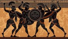 Ancient Greek Scene Banner.Hero,spartan,myth.Ancient Civilization Culture.