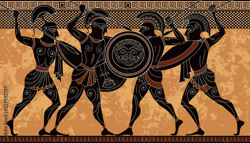 Ancient greek scene banner Canvas Print