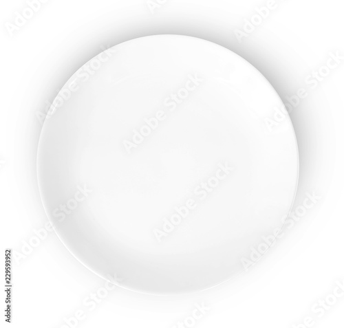 empty plate isolated on white background Wall mural