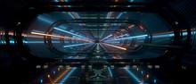 Spaceship Interior Bridge Corridor, Clean, Shiny