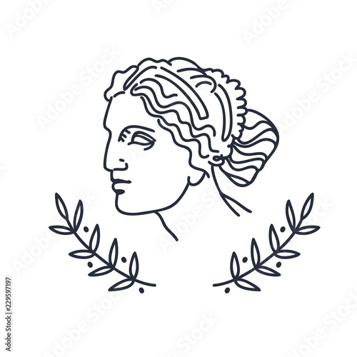 Stampa su Tela Venus, the ancient Greek goddess of love, vector sketch illustration, isolated on white