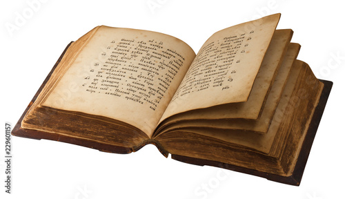 Fotografia, Obraz ancient religion opened book, hymnal with old russian text, isolated on white ba