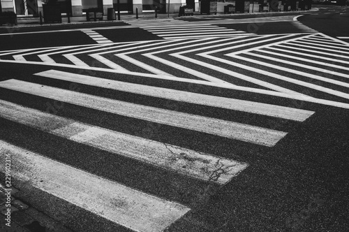 Fotografie, Obraz  Abstract lines of pedestrian crossing, black and white