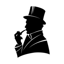 Vintage Monochrome Gentleman Silhouette