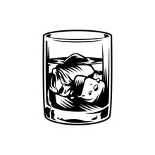 Vintage Monochrome Glass Of Whiskey