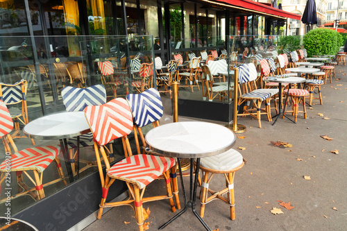 View Of Parisian Street With Outdoor Cafe Paris France