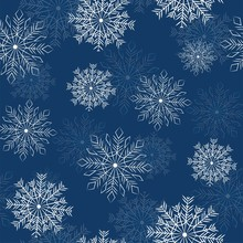 Winter Seamless Pattern With Deers, Fir And Snowflakes On Blue Background