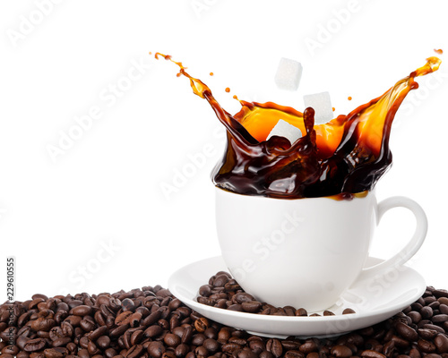 Obraz Throw sugar cube into coffee cup with splashing isolated on white background. - fototapety do salonu