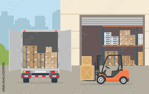 Fotomural Warehouse building, truck and Forklift truck on city background