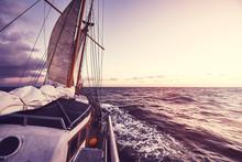 Old Sailing Ship At Sunset, Tr...