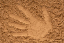 Yellow Sand, Pattern Of Palm, Trace Of Hand, Hand Impression, Imprint Of Hand
