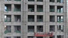Workers On A Building On Construction Aerial Drone Shot Going Up And Discovering The City In Mongolia