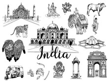 Set Of Hand Drawn Sketch Style India Themed Objects Isolated On White Background. Vector Illustration.