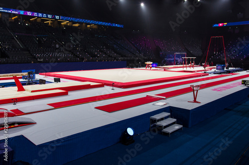 Spoed Foto op Canvas Gymnastiek Gymnastic equipment in an arena