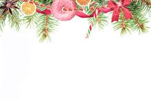 Christmas Holiday Pine Decoration On White Background.